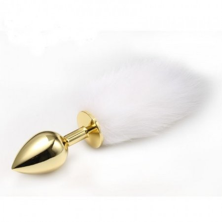 Plug Anal - Calda de Raposa do Ártico - Dourado 7,5 x 2,8 cm
