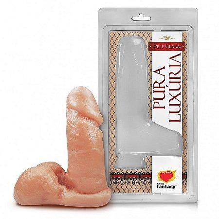 Pênis Realístico - Maciço e Escroto - PVC - Pele - 12 x 3,6 cm