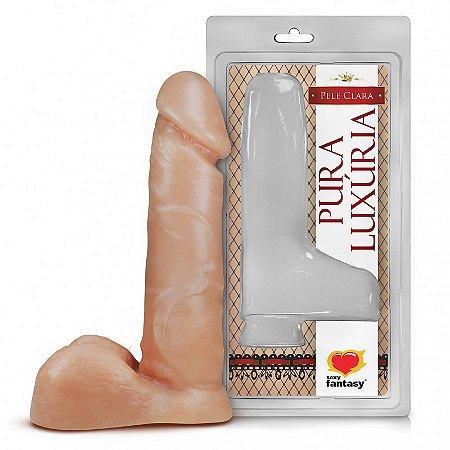 Pênis Realístico - Maciço e Escroto - PVC - Pele - 16 x 3,2 cm