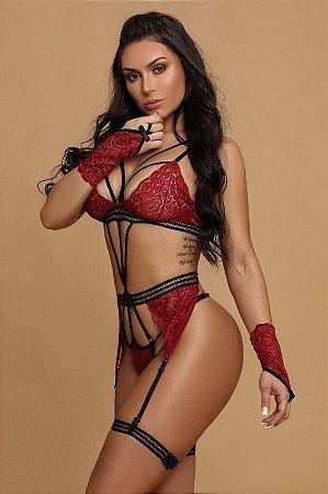Body Sexy com Renda e Strappy Acompanha Luva e Cinta Liga