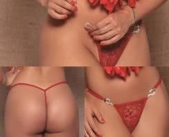 Calcinha Strip Tease com Detalhes em Strass - Vermelha