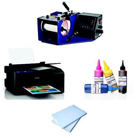Kit Máquina Completa Para Estampar Canecas De Cerâmica, Impressora Sublimática L380 (ou Modelo Superior) + Tinta Sublimática + Papel Sublimático