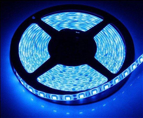 Fita Led 5050 14,4W/M com Silicone Uso Externo IP65 - Rolo 5 Metros - Luz Azul