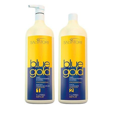 Kit Escova Progressiva Blue Gold Sem Formol 1L - Salvatore
