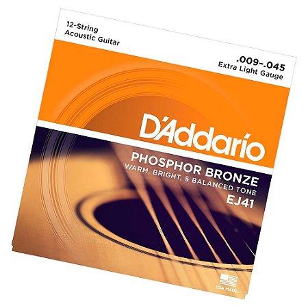 Encordoamento Violão 12 cordas 09 Daddario Bronze Ej41 009