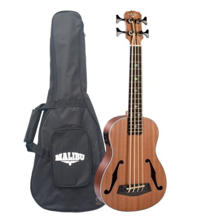 Ukulele bass 4 cordas Malibu mogno ubass com capa F HOLE