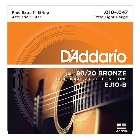 Encordoamento 010 Violão Daddario Ej10 B Aço Cordas - Mizinha extra