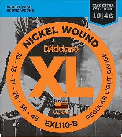 "Encordoamento Daddario 010 Guitarra Exl110b + 1a Corda ""mi"" Extra"