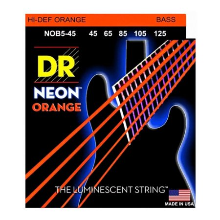 Encordoamento baixo 5 cordas DR STRINGS NEON ORANGE 045