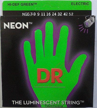 Encordoamento guitarra 7 DR STRINGS NEON green 09 - verde