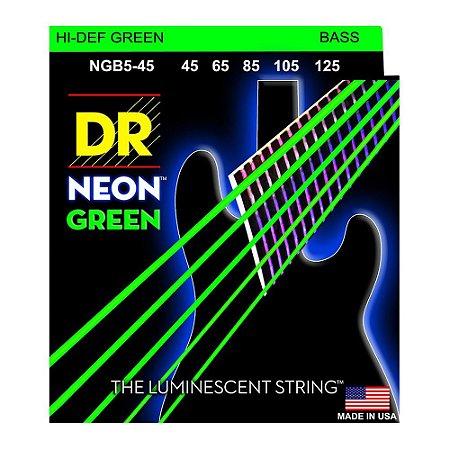 Encordoamento baixo 5 cordas DR STRINGS NEON GREEN 045