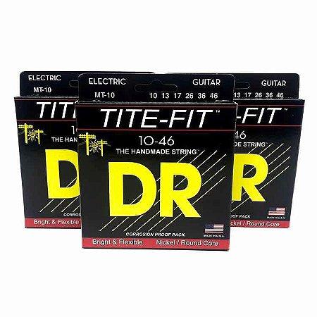 3 Encordoamento Guitarra 010 Dr Strings - Tite Fit Mt10 Kit