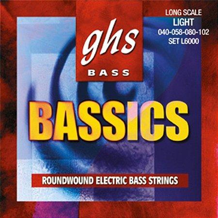 Encordoamento baixo 4 cordas 040 GHS L6000 LIGHT jogo corda