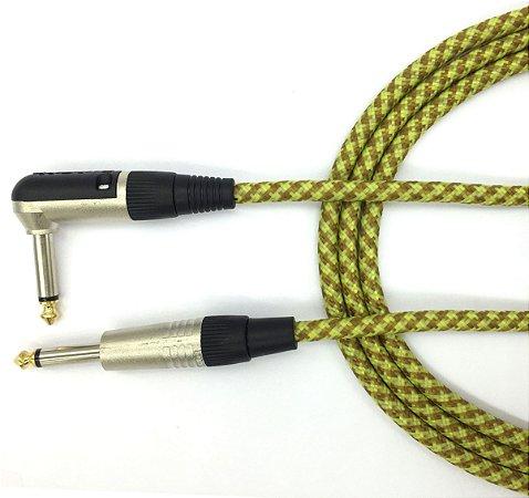 Cabo Têxtil Instrumento Vintage 3 m 10ft Plug L P10 gold