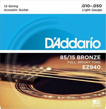 Encordoamento Daddario violão 12 cordas 010 aço EZ940 jogo