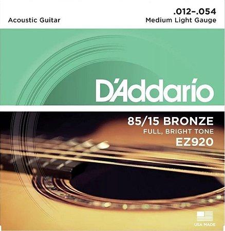 Encordoamento violão aço Daddario 012 EZ920 +1a corda gratis