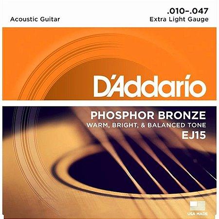 Encordoamento DAddario EJ15 violão 010 aço phosphor bronze