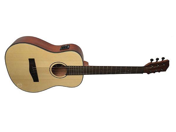 Violão elétrico baby mini Folk MALIBU Natural fosco madeira