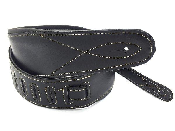 Correia Couro Confortável guitarra baixo preta Luxo 8cm CC