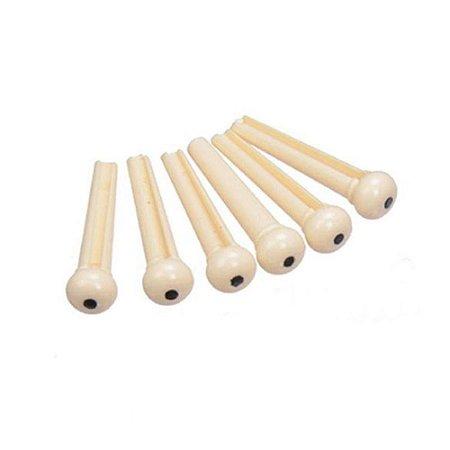 Pino Plástico Bolinha branca para Violão Kit com 6 Unid