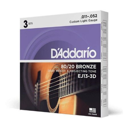3 Encordoamento Daddario 011 violão aço EJ13-3d EJ11