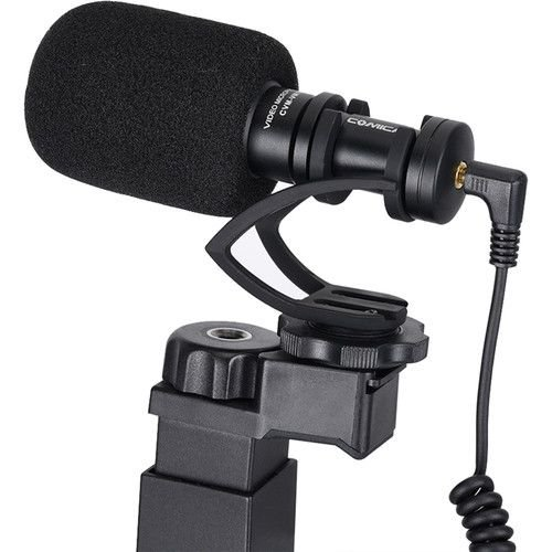 Microfone Shotgun c tripé p celular smartphone COMICA VM10K2