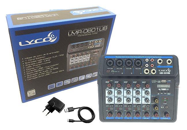 Mesa 6 canais 0601 USB player Rec bluetooth efeito interface