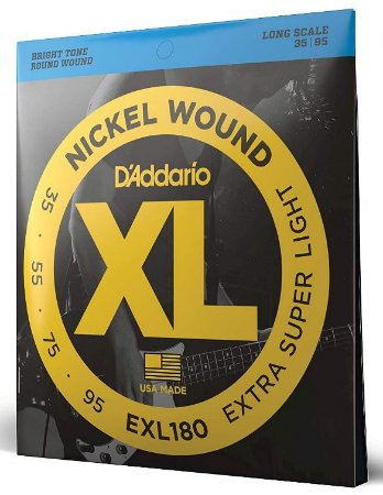 Encordoamento baixo 4 cordas 035 Daddario EXL180 super leve
