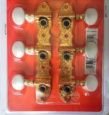 Tarraxa blindada dourada violão classico nylon Pino Grosso