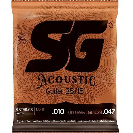 Encordoamento violão aço 010 SG Bronze light jogo corda