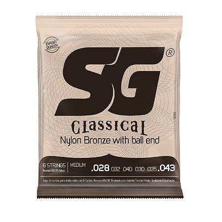 Encordoamento violão nylon bronze SG tensão média com bolinha