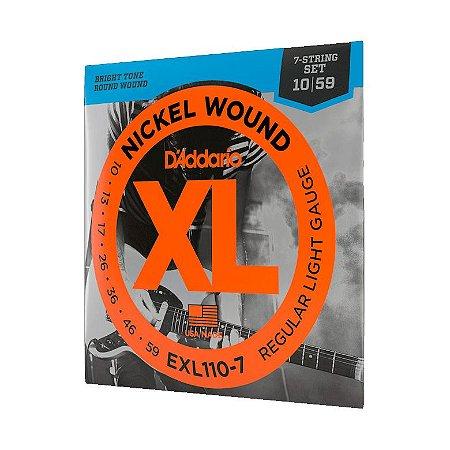 Encordoamento Daddario 010 Guitarra 7 cordas Exl110-7 Jogo
