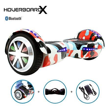 """Hoverboard Skate Elétrico 6,5"""" Camuflado Colorido Barato"""