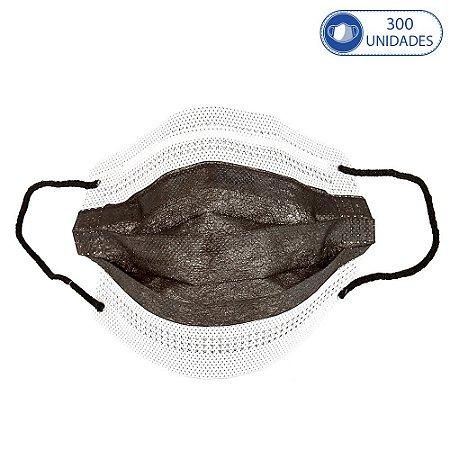 300 Máscaras Cirúrgicas Infantis Preto Descartável Tripla Ca