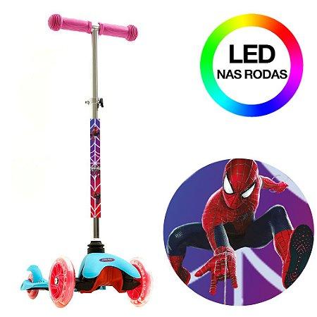 Patinete Homem Aranha Azul de 3 Rodas com Led BBR Toys