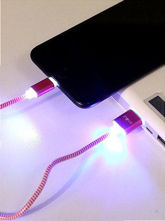 Cabo USB Resistente Inova Para iPhone Rosa