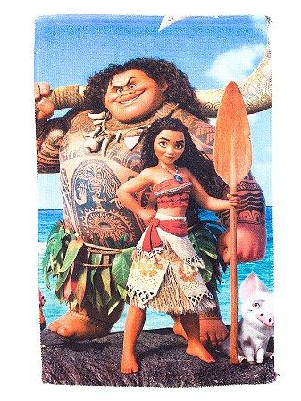 Toalha De Rosto E Mão Moana com Maui Felpuda Infantil Personagens