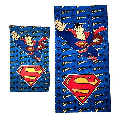 Kit Toalha de Banho e Mão Superman Felpuda Infantil Personagens