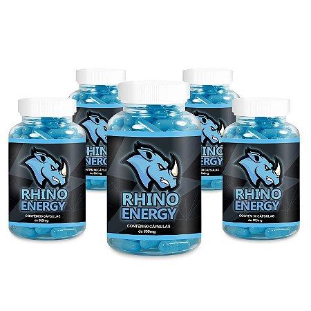 Kit 5 Rhino Energy Estimulante 500mg - 90 Cápsulas