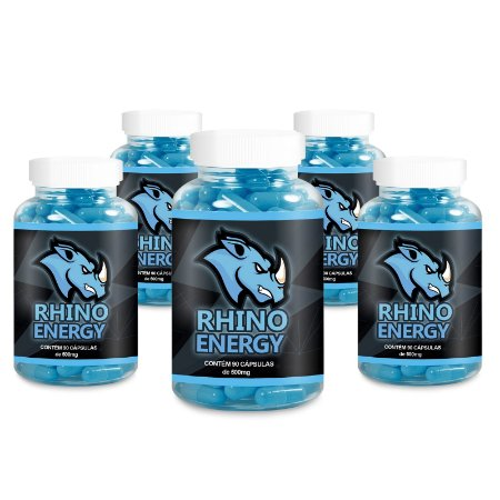 Kit 5 Rhino Energy Viagra Natural 500mg - 90 Cápsulas