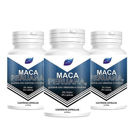 Kit 3 Maca Peruana 100%Pura + Vitaminas 500mg - 90 Cápsulas