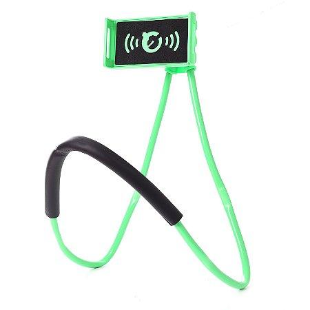 Suporte Celular Articulado De Pescoço Selfie Cama Mesa Sofá Verde
