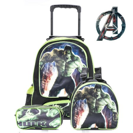 Kit Mochila Escolar Infantil Com Rodinhas Hulk