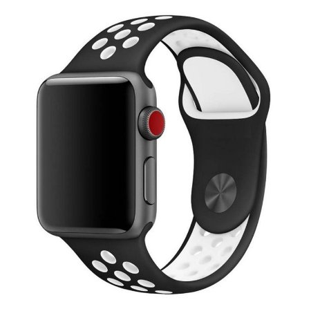Pulseira Silicone  Esportivo Para Apple Watch 42mm - Preto com Branco