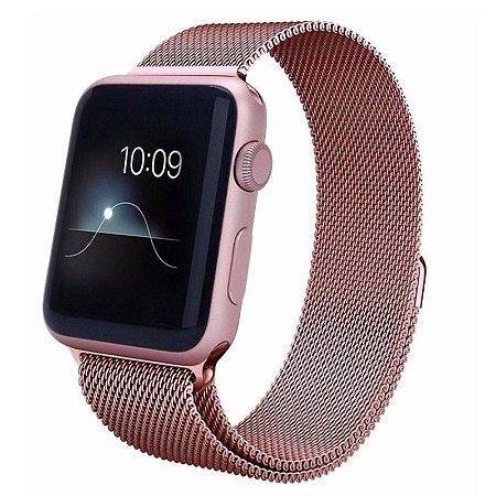 Pulseira Estilo Milanês para Apple Watch 42 mm-Rosê