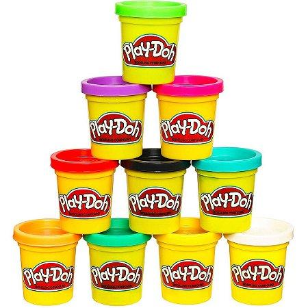 Kit 10 Massinha de Modelar Play-Doh Infantil Com Cores Sortidas