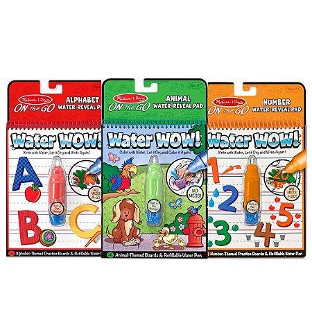 Kit 3 Livros de Atividades para Colorir Melissa & Doug Com Caneta de Água Recarregável