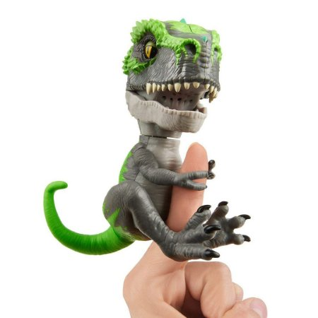 Dinossauro T-Rex Tracker Agarradinhos  Fingerlings Untamed Preto e Verde