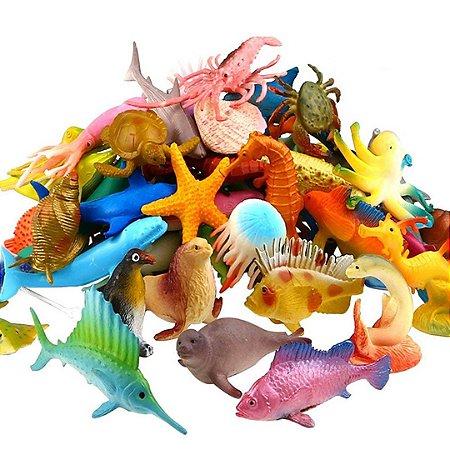 Kit Mini Animais Realista do Mar de Plástico com 52 Peças de Animais do Oceano