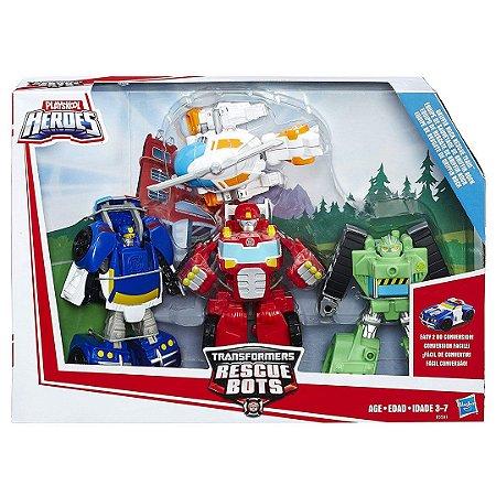 Kit 4 Robô Rescue Bots Playskool Heróis Transformers Equipe De Resgate